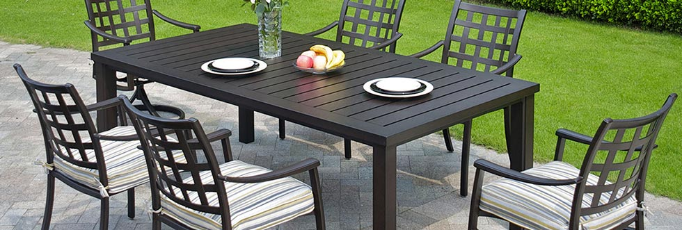 Aluminum, Wicker, MGP Patio Dining Sets